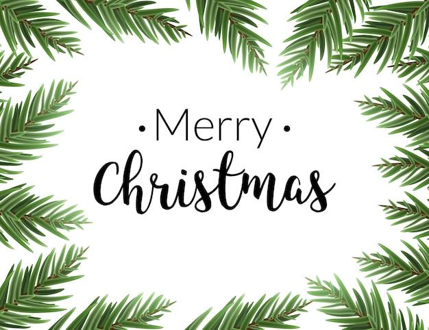 Realistyczna świąteczna ramka z jodłą. wesołych świąt bożego narodzenia sosna ozdoba obramowanie karty.