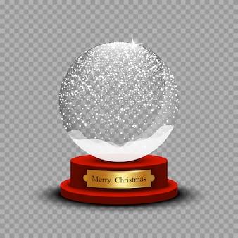 Realistyczna świąteczna śnieżka. szklana kula śniegu z cieniem na przezroczystym tle