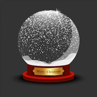 Realistyczna świąteczna śnieżka. szklana śnieżna piłka z cieniem na czarnym tle