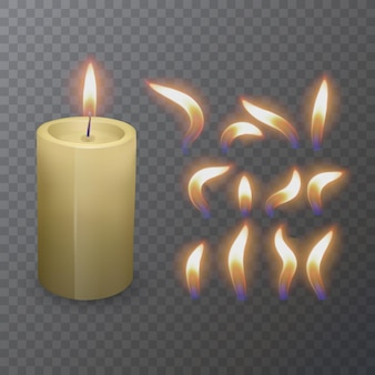 Realistyczna świeca paląca się parafiną lub woskiem i inny płomień zbliżenia świecy na białym tle