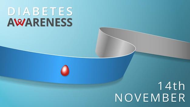 Realistyczna szara i niebieska wstążka z kroplą krwi. plakat miesiąca świadomości cukrzycy. ilustracja wektorowa. światowa koncepcja solidarności typu 1 dzień cukrzycy. 14 listopada.