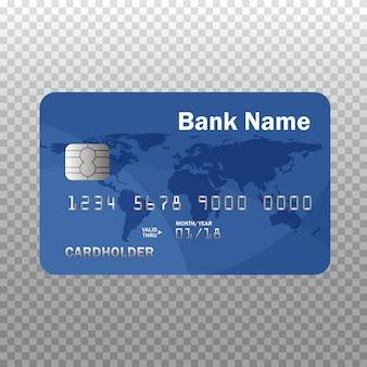 Realistyczna szczegółowa karta kredytowa lub debetowa na przezroczystym tle. ilustracja. odosobniony