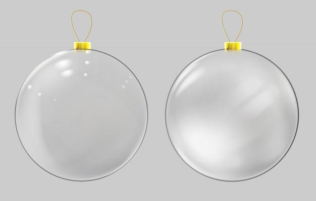 Realistyczna szklana bombka. przejrzysta dekoracja świątecznej piłki.