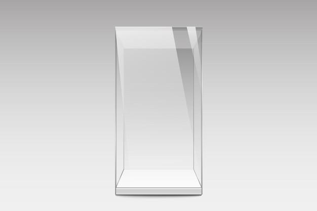 Realistyczna szklana gablota. puste szklane pudełko. szablon