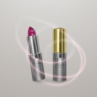Realistyczna szminka w jasnym kolorze wiśni. 3d ilustracja złoty kolor, modny projekt kosmetyczny