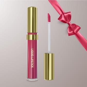 Realistyczna szminka w kolorze wiśni z realistyczną kokardką. ilustracja, modny projekt kosmetyczny