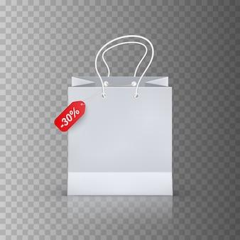 Realistyczna torba na zakupy na przezroczystym tle
