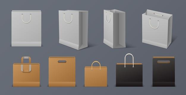 Realistyczna torba papierowa. pusta torba na zakupy wielokrotnego użytku biały i czarny z uchwytami na białym tle na szarym tle. wektorowy pakiet projektów towarów rzemieślniczych 3d do merchandisingu i reklamy