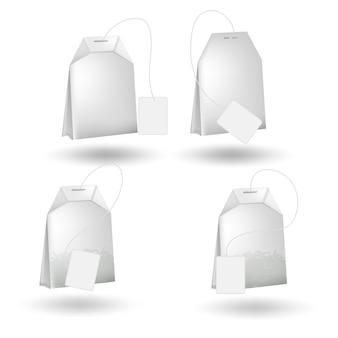 Realistyczna torebka herbaty na białym tle