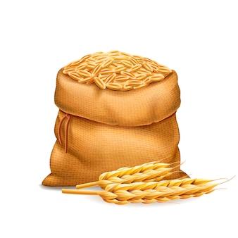 Realistyczna torebka z oczyszczonymi ziarnami pszenicy, jęczmień z kłosami pszenicy. chleb i motyw zbiorów