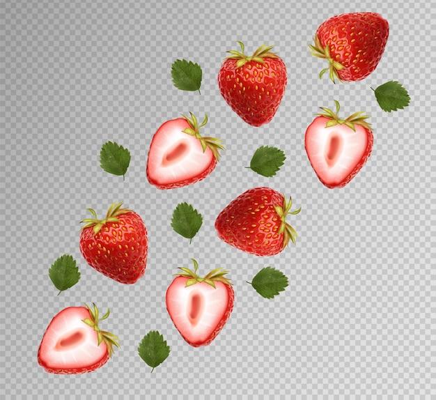 Realistyczna truskawka z liśćmi, owoce letnie