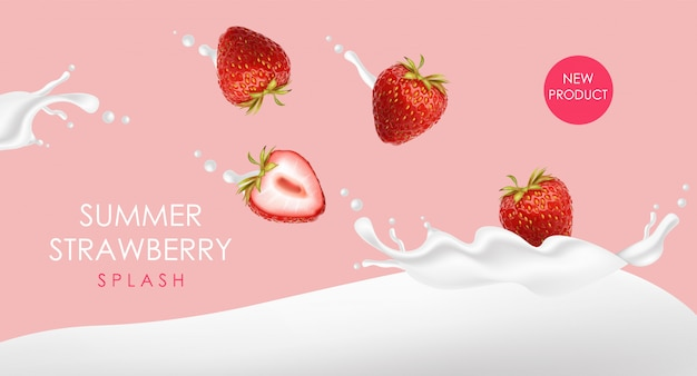 Realistyczna truskawka z mlekiem, jogurt truskawkowy, owoce lata, pojedyncze owoce, letni deser, ilustracja