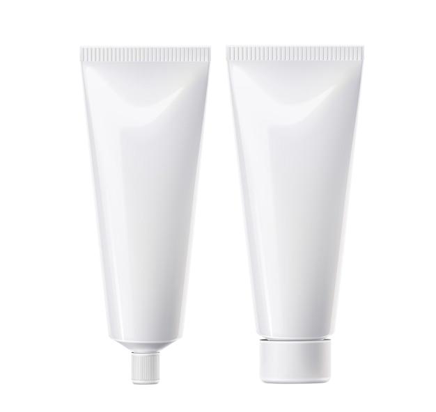 Realistyczna tubka pasty do zębów biała. szablon plastikowej kostki kosmetyków. krem do skóry, pojemnik na kosmetyki do makijażu twarzy. opakowanie produktów do pielęgnacji jamy ustnej.