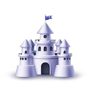 Realistyczna twierdza zamkowa z wieżami na białym tle ilustracji