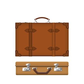 Realistyczna walizka retro skórzany brązowy futerał z paskami i uchwytem na białym tle
