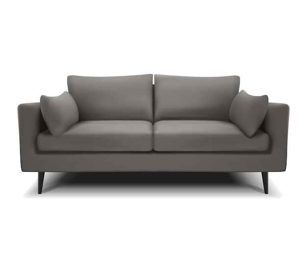 Realistyczna wektor szara sofa, kanapa na białym