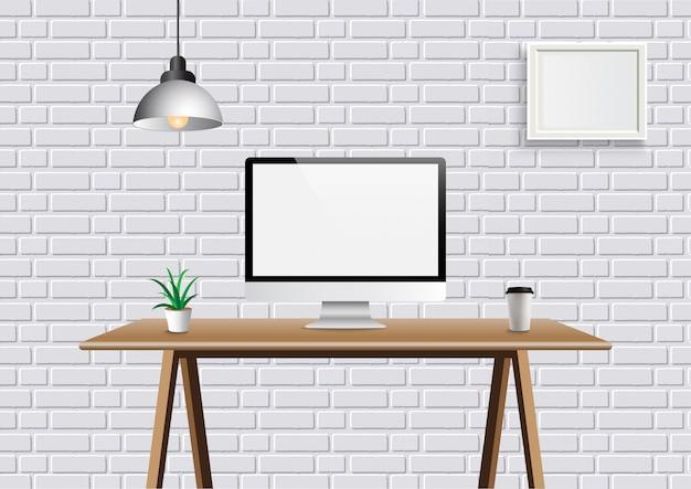 Realistyczna wektorowa biurowa kreatywnie przestrzeń z pokazem na biurku stole