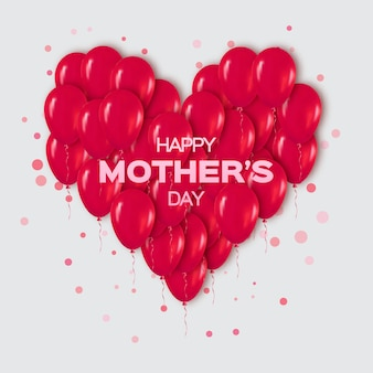 Realistyczna wiązka balonów na czerwone serce na szczęśliwy dzień matki