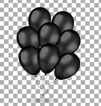 Realistyczna wiązka czarnych balonów. balony na czarny piątek. na białym tle. ilustracja.