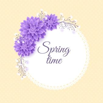 Realistyczna wiosna kwiatowy rama koncepcja