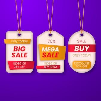 Realistyczna wisząca kolekcja etykiet sprzedaży