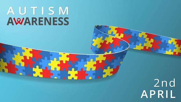 Realistyczna wstążka mozaiki. plakat miesiąca świadomości autyzmu. ilustracja wektorowa. kolorowe łamigłówki. dziecinne tło. koncepcja solidarności światowy dzień autyzmu. 2 kwietnia.