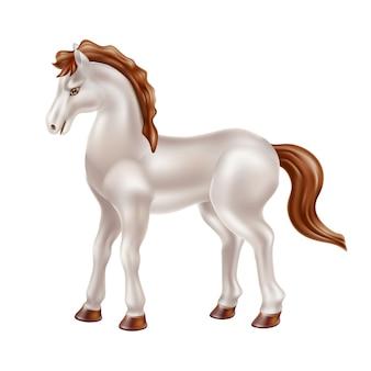 Realistyczna zabawka białego konia z brązową grzywą i bajkową lalką bez siodła