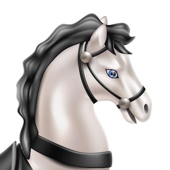 Realistyczna zabawka dla konia, lalka z czarnym siodłem