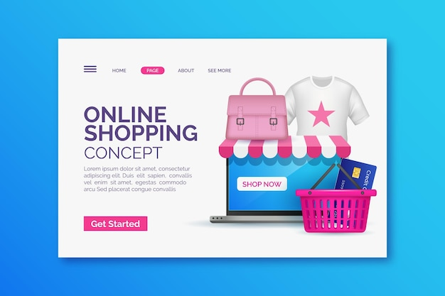 Realistyczna zakupy online strona docelowa z ilustracją
