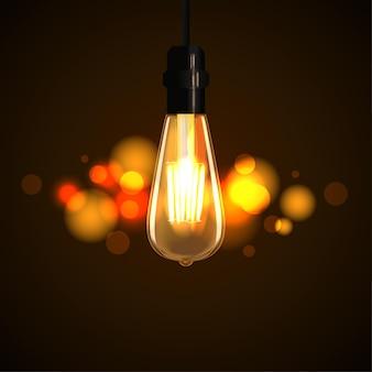Realistyczna żarówka edisona świeci na ciemnym tle z efektem świetlnym