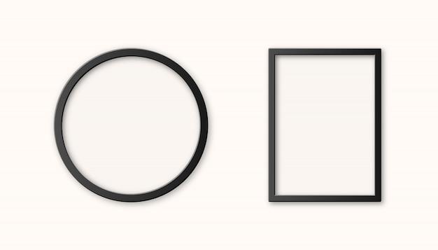 Realistyczna zestaw czarna plastikowa ramka na zdjęcia na białym tle