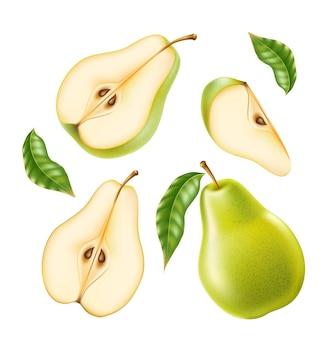 Realistyczna zielona gruszka w całości i pół na żywność ekologiczną, zestaw do projektowania produktów do napojów.