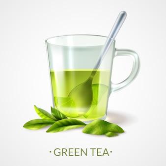 Realistyczna zielona herbata i filiżanka z łyżkową wektorową ilustracją
