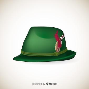 Realistyczna zielona ozdobna czapka oktoberfest