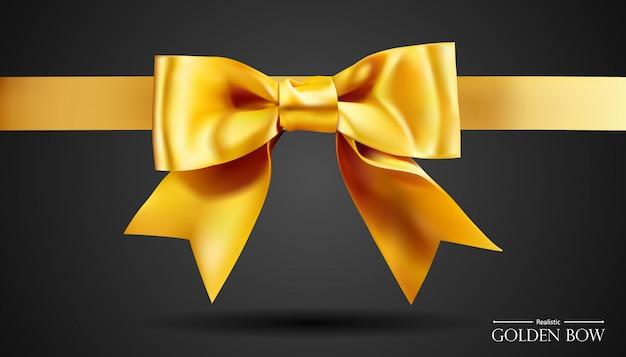 Realistyczna złota kokarda ze złotem, element dekoracji upominków, pozdrowienia, święta.
