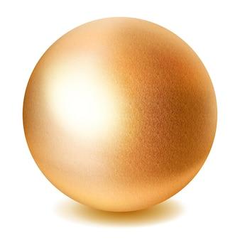 Realistyczna złota kula z cieniem na białym tle