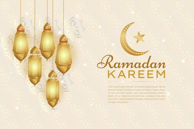 Realistyczna złota latarnia i półksiężyc islamski tło ramadan kareem