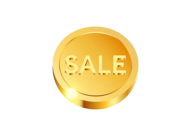 Realistyczna złota moneta bonusowa na białym tle