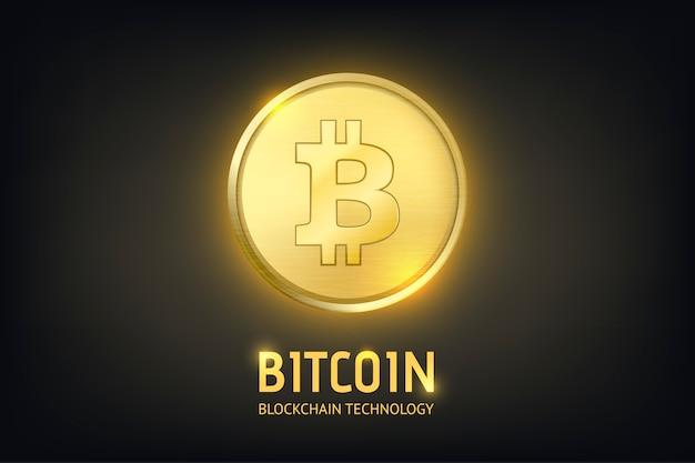 Realistyczna złota moneta kryptowalut - bitcoin. technologia blockchain. zbliżenie na ciemnym tle