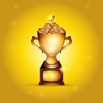 Realistyczna złota trofeum filiżanka pełno złociste monety
