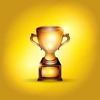 Realistyczna złota trofeum filiżanki ilustracja