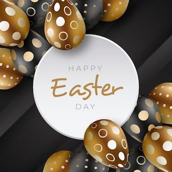 Realistyczna złota wielkanocna ilustracja z jajkami