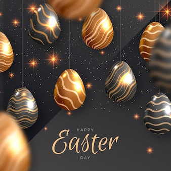 Realistyczna Złota Wielkanocna Ilustracja Premium Wektorów