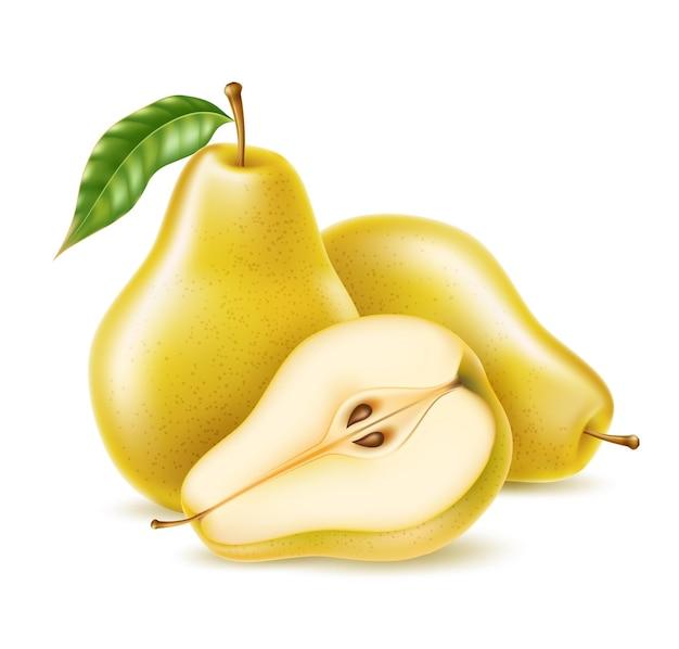 Realistyczna żółta gruszka w całości i pół na żywność ekologiczną, projekt produktu do napojów.