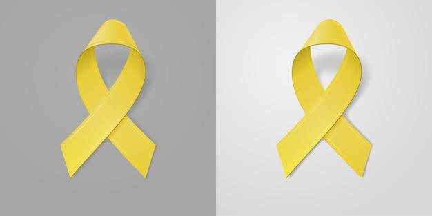 Realistyczna żółta wstążka na jasnym i ciemnoszarym tle. symbol świadomości raka u dzieci we wrześniu. szablon banera, plakatu, zaproszenia, ulotki.