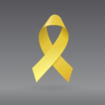 Realistyczna żółta wstążka na na białym tle ciemnoszarym tle. symbol świadomości raka u dzieci we wrześniu. szablon banera, plakatu, zaproszenia, ulotki.