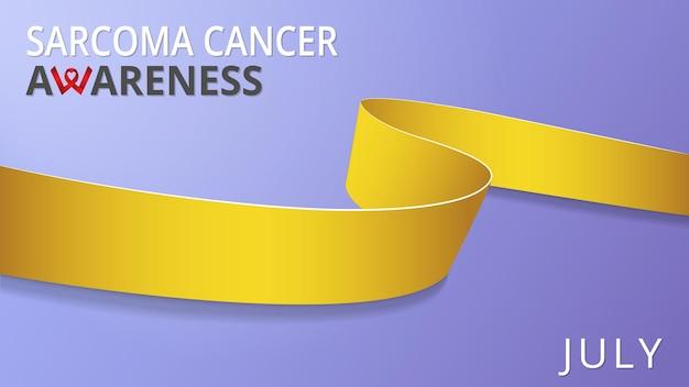 Realistyczna żółta wstążka. plakat miesiąca raka świadomości mięsaka. ilustracja wektorowa. koncepcja solidarności światowego dnia raka mięsaka.