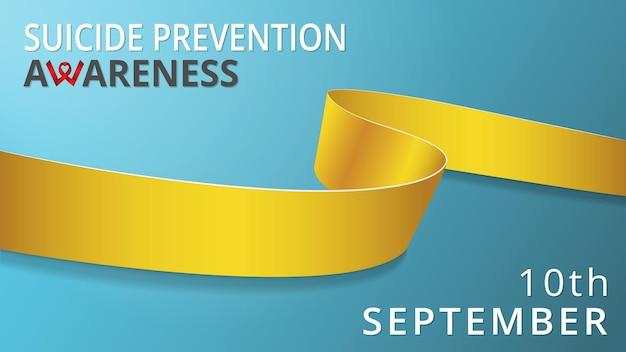 Realistyczna żółta wstążka. plakat miesiąca zapobiegania samobójstwom świadomości. ilustracja wektorowa. koncepcja solidarności dzień zapobiegania samobójstwom na świecie. 10 września.