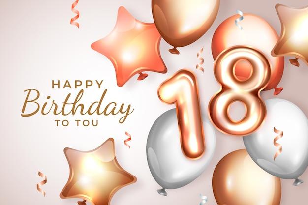 Realistyczne 18 urodziny tło