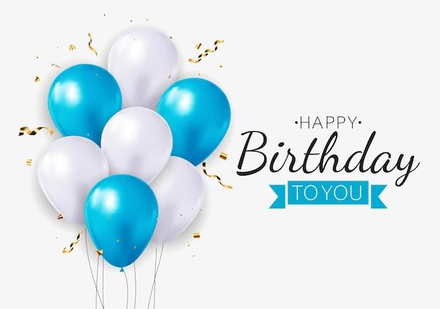 Realistyczne 3d balon tło z życzeniami urodzinowymi